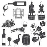 Σύνολο εικονιδίων σκιαγραφιών κρασιού επίσης corel σύρετε το διάνυσμα απεικόνισης ελεύθερη απεικόνιση δικαιώματος
