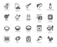 Σύνολο εικονιδίων στο θέμα μαγειρικής που απομονώνεται στο άσπρο υπόβαθρο Επίπεδες ετικέτες για τα προγράμματα μαγειρέματος επίση Στοκ φωτογραφία με δικαίωμα ελεύθερης χρήσης