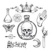 Σύνολο εικονιδίων συμβόλων αλχημείας Πνευματικότητα, αποκρυφισμός, χημεία, MAG απεικόνιση αποθεμάτων