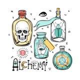Σύνολο εικονιδίων συμβόλων αλχημείας Πνευματικότητα, αποκρυφισμός, χημεία, MAG διανυσματική απεικόνιση
