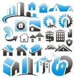 Σύνολο εικονιδίων, συμβόλων και σημαδιών σπιτιών. ελεύθερη απεικόνιση δικαιώματος