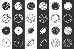 Σύνολο εικονιδίων σφαιρών για το ποδόσφαιρο, την καλαθοσφαίριση, την πετοσφαίριση, το ράγκμπι, το μπόουλινγκ και την αντισφαίριση απεικόνιση αποθεμάτων