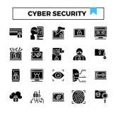 Σύνολο εικονιδίων σχεδίου ασφάλειας Cyber glyph διανυσματική απεικόνιση