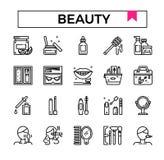 Σύνολο εικονιδίων σχεδίου ομορφιάς και περιλήψεων καλλυντικών ελεύθερη απεικόνιση δικαιώματος