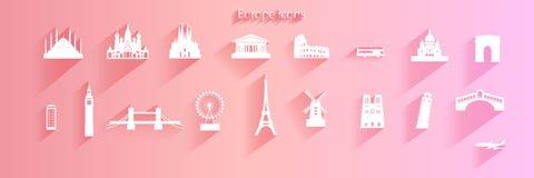 Σύνολο εικονιδίων ταξιδιού συμβόλου αρχιτεκτονικής της Ευρώπης στο ρόδινο υπόβαθρο στοκ φωτογραφίες με δικαίωμα ελεύθερης χρήσης