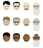 Σύνολο εικονιδίων, τα πρόσωπα Ασιατών, Ευρωπαίοι, Αφρικανοί Επίπεδο ύφος ελεύθερη απεικόνιση δικαιώματος
