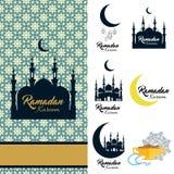 Σύνολο εικονιδίων του Kareem Ramadan Κάρτα με το μουσουλμανικό τέμενος και ημισεληνοειδές έμβλημα στο αραβικό υπόβαθρο Διανυσματική απεικόνιση