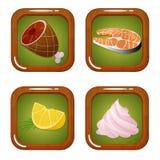 Σύνολο εικονιδίων τροφίμων με το κρέας, τα ψάρια, το λεμόνι και Zephyr Marshmellow Στοκ φωτογραφία με δικαίωμα ελεύθερης χρήσης
