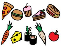 Σύνολο εικονιδίων τύπων τροφίμων κινούμενων σχεδίων Στοκ Εικόνες