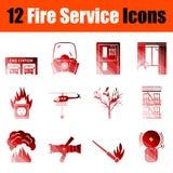 Σύνολο εικονιδίων υπηρεσιών πυρόσβεσης απεικόνιση αποθεμάτων