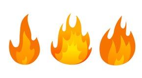 Σύνολο εικονιδίων φλογών πυρκαγιάς κινούμενων σχεδίων απεικόνιση αποθεμάτων
