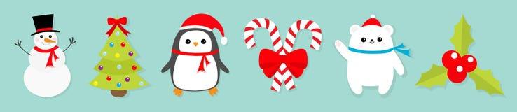 Σύνολο εικονιδίων Χαρούμενα Χριστούγεννας Κόκκινο τόξο ραβδιών καλάμων καραμελών χιονανθρώπων Πουλί Penguin, άσπρο cub πολικών αρ διανυσματική απεικόνιση