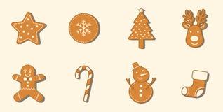 8 σύνολο εικονιδίων Χριστουγέννων μπισκότων μελοψωμάτων Στοκ Εικόνα