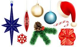 Σύνολο εικονιδίων Χριστουγέννων, ρεαλιστικό ύφος διανυσματική απεικόνιση