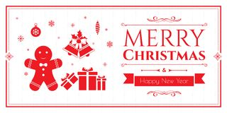 Σύνολο εικονιδίων Χριστουγέννων στο κόκκινο υπόβαθρο Στοκ Φωτογραφίες