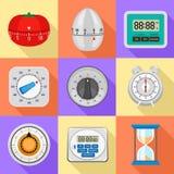 Σύνολο εικονιδίων χρονομέτρων κουζινών, επίπεδο ύφος απεικόνιση αποθεμάτων