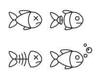 Σύνολο εικονιδίων ψαριών νεκρά και ζωντανά ψάρια ελεύθερη απεικόνιση δικαιώματος