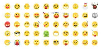 50 σύνολο εικονιδίων Emoji Περιέλαβε τα εικονίδια όπως ευτυχή, τη συγκίνηση, το πρόσωπο, το συναίσθημα, emoticon και περισσότερων διανυσματική απεικόνιση