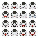 Σύνολο εικονιδίων Emoji Onigiri με τη διαφορετική διανυσματική απεικόνιση συγκινήσεων διανυσματική απεικόνιση