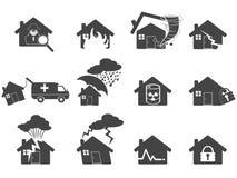 σύνολο εικονιδίων σπιτιών καταστροφής Στοκ Φωτογραφίες