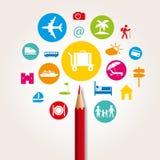 Σύνολο εικονογραμμάτων που επεξηγούν τον τουρισμό γύρω από ένα κόκκινο μολύβι που συμβολίζει την επιλογή απεικόνιση αποθεμάτων