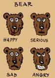 Σύνολο εικόνας συναισθημάτων αρκούδων ελεύθερη απεικόνιση δικαιώματος
