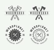 Σύνολο εκλεκτής ποιότητας ξυλουργικής, ξυλουργικής και μηχανικών ετικετών, διακριτικά, διανυσματική απεικόνιση