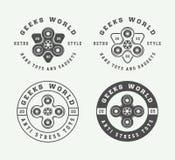 Σύνολο εκλεκτής ποιότητας fidget λογότυπων κλωστών, εμβλήματα, διακριτικά Στοκ Εικόνα