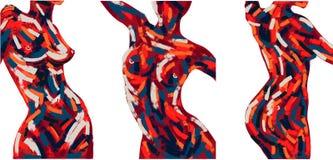 Σύνολο ελαιογραφίας σύγχρονης τέχνης vecor απεικόνιση αποθεμάτων