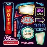 Σύνολο ελαφριών σημαδιών, πινάκων και βελών Αναδρομικά εμβλήματα νέου για τη διαφήμιση απεικόνιση αποθεμάτων