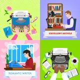 Σύνολο εμβλημάτων εργασίας γραφομηχανών, επίπεδο ύφος απεικόνιση αποθεμάτων