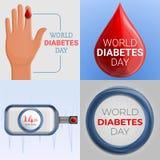 Σύνολο εμβλημάτων ημέρας διαβήτη, ύφος κινούμενων σχεδίων απεικόνιση αποθεμάτων