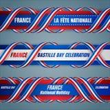 Σύνολο εμβλημάτων Ιστού για τη γαλλική εθνική εορτή διανυσματική απεικόνιση