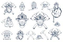 Σύνολο εμβλημάτων και στοιχείων πυροσβεστών Πυροσβεστικό λογότυπο Το κεφάλι πυροσβεστών ` s σε μια μάσκα Ετικέτα πυροσβεστικών υπ διανυσματική απεικόνιση