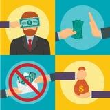 Σύνολο εμβλημάτων κατάχρησης δωροδοκίας, επίπεδο ύφος απεικόνιση αποθεμάτων