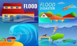 Σύνολο εμβλημάτων καταστροφής πλημμυρών, ύφος κινούμενων σχεδίων διανυσματική απεικόνιση