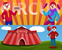 Σύνολο εμβλημάτων κλόουν τσίρκων, ύφος κινούμενων σχεδίων απεικόνιση αποθεμάτων