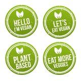 Σύνολο εμβλημάτων κουμπιών διακριτικών Vegan Eps10 διάνυσμα Στοκ εικόνες με δικαίωμα ελεύθερης χρήσης