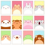 Σύνολο εμβλημάτων με τα χαριτωμένα ζώα ελεύθερη απεικόνιση δικαιώματος