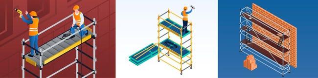 Σύνολο εμβλημάτων υλικών σκαλωσιάς, isometric ύφος διανυσματική απεικόνιση