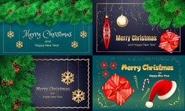 Σύνολο εμβλημάτων Χριστουγέννων, ρεαλιστικό ύφος ελεύθερη απεικόνιση δικαιώματος