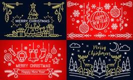 Σύνολο εμβλημάτων Χριστουγέννων, ύφος περιλήψεων διανυσματική απεικόνιση