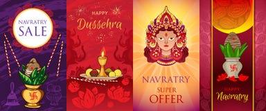 Σύνολο εμβλημάτων Navratri, ύφος κινούμενων σχεδίων ελεύθερη απεικόνιση δικαιώματος