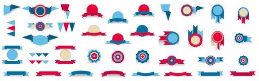 Σύνολο εμβλημάτων tricolor, κόκκινο, μπλε, μπεζ διανυσματική απεικόνιση