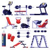 Σύνολο εξοπλισμού λεσχών γυμναστικής και ικανότητας Συσκευές κατάρτισης, απομονωμένη διάνυσμα απεικόνιση Εικονίδια μηχανών Bodybu απεικόνιση αποθεμάτων