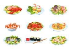 Σύνολο εορταστικών πιάτων θαλασσινών, λιχουδιές με την όμορφη παρουσίαση απεικόνιση αποθεμάτων