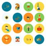 Σύνολο επίπεδων εικονιδίων φθινοπώρου Στοκ εικόνες με δικαίωμα ελεύθερης χρήσης
