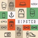 Σύνολο επίπεδων εικονιδίων thinline της σκιαγραφίας hipster Ελεύθερη απεικόνιση δικαιώματος