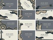 Σύνολο επαγγελματικών καρτών με τα μουσικά όργανα Στοκ Εικόνες