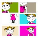 Σύνολο επαγγελματικών καρτών με το όμορφο σκίτσο κοριτσιών Στοκ Φωτογραφία